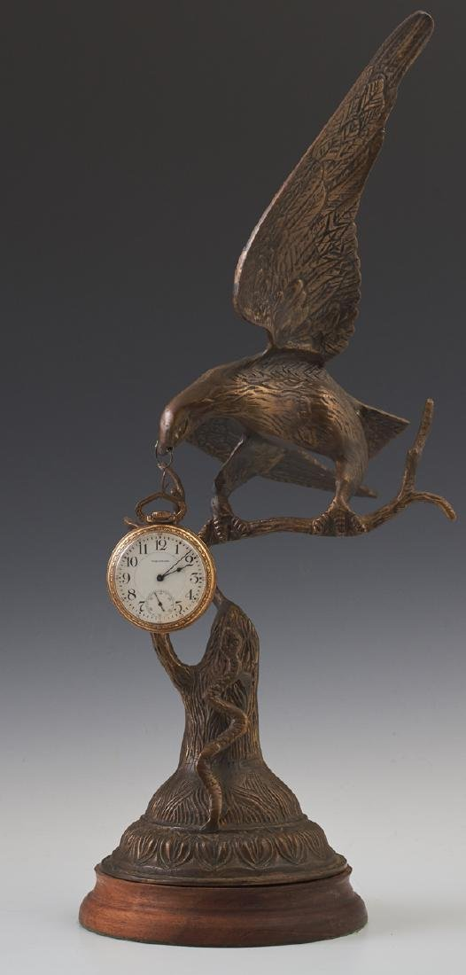 Bronze Eagle Pocket Watch Holder, 20th c., on a stepped - 2