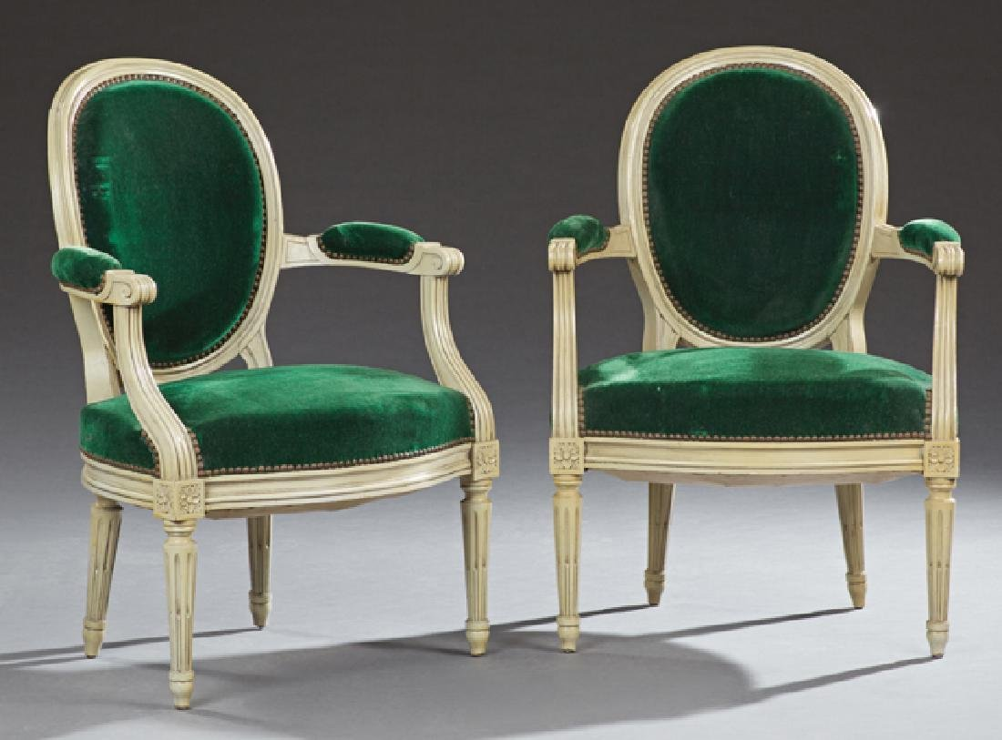 Pair of French Louis XVI Style Polychromed Beech