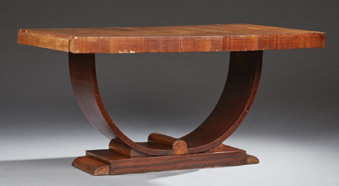 French Art Deco Carved Walnut Dining Table, c. 1930,