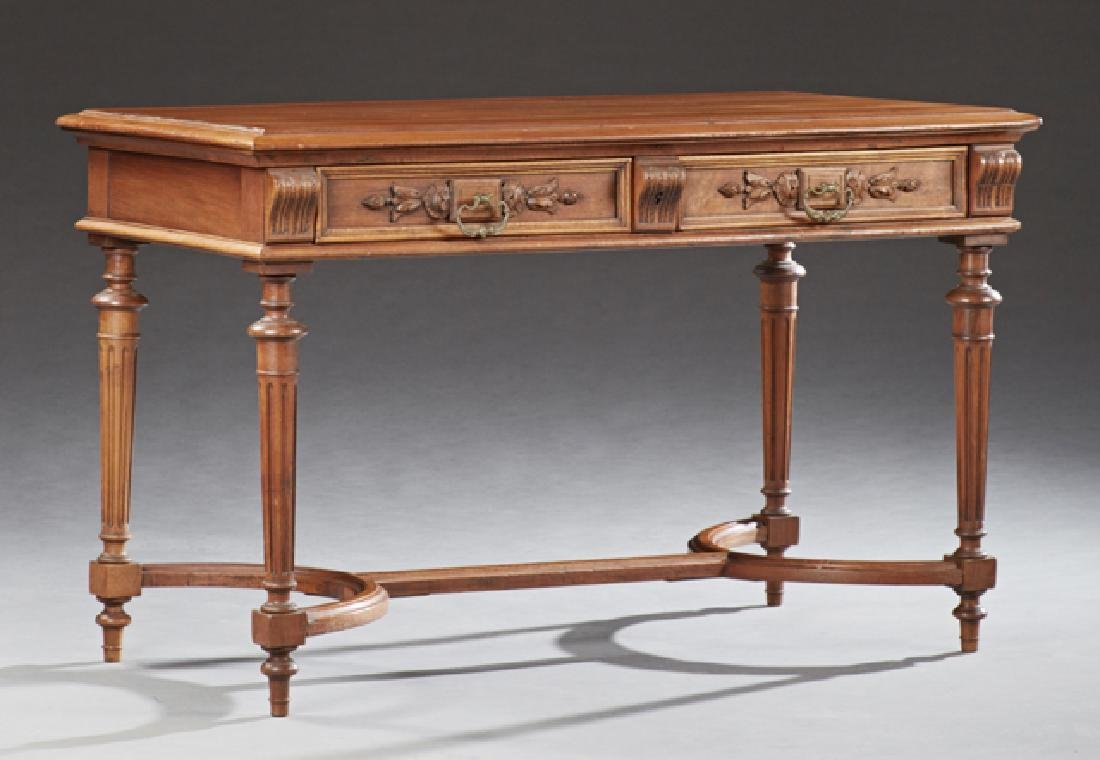 French Louis Philippe Style Carved Walnut Writing