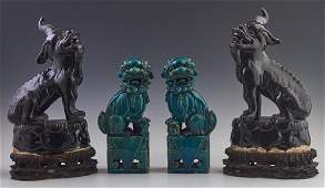 Two Pair of Glazed Earthenware Foo Animals; 20th c., a