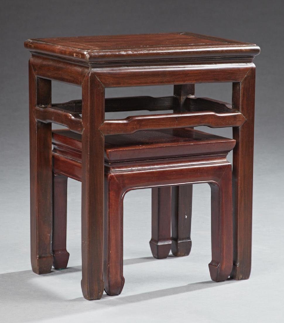 Nest of Two Chinese Carved Mahogany Tables, 20th c., on - 2