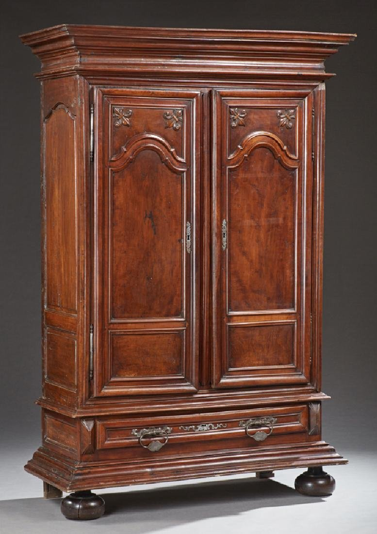 French Louis XIV Style Carved Walnut Armoire, 18th c.,