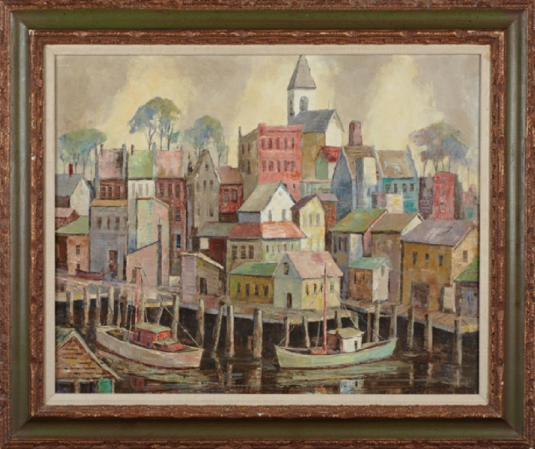 """Carl Thorp (1918-1995), """"Gloucester Waterfront,"""" 20th"""