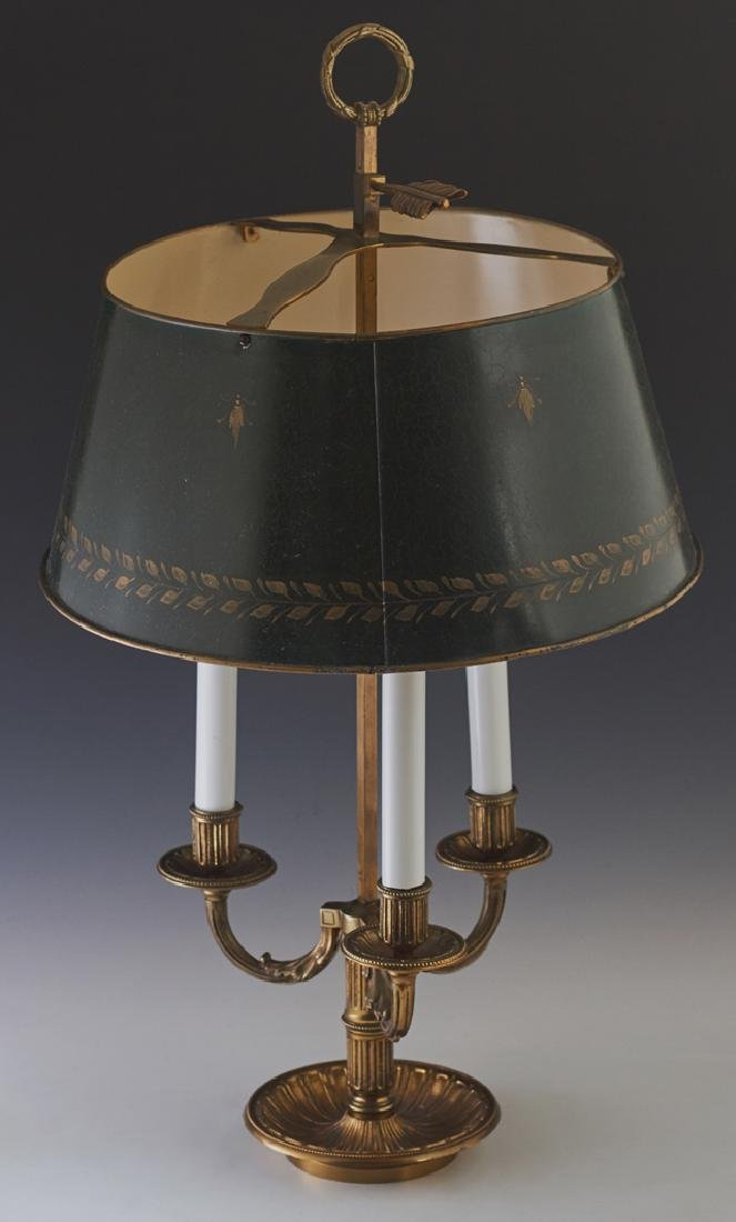 French Style Brass Three Light Bouillotte Lamp, 20th