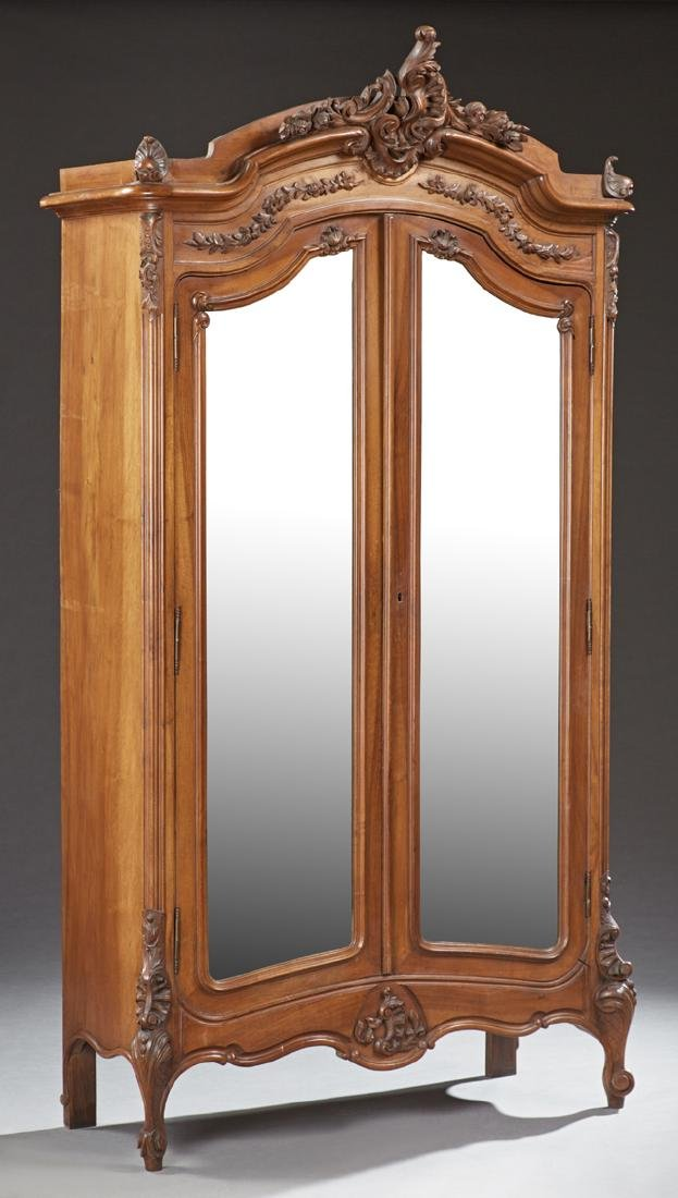 French Louis XV Style Carved Walnut Armoire, early 20th
