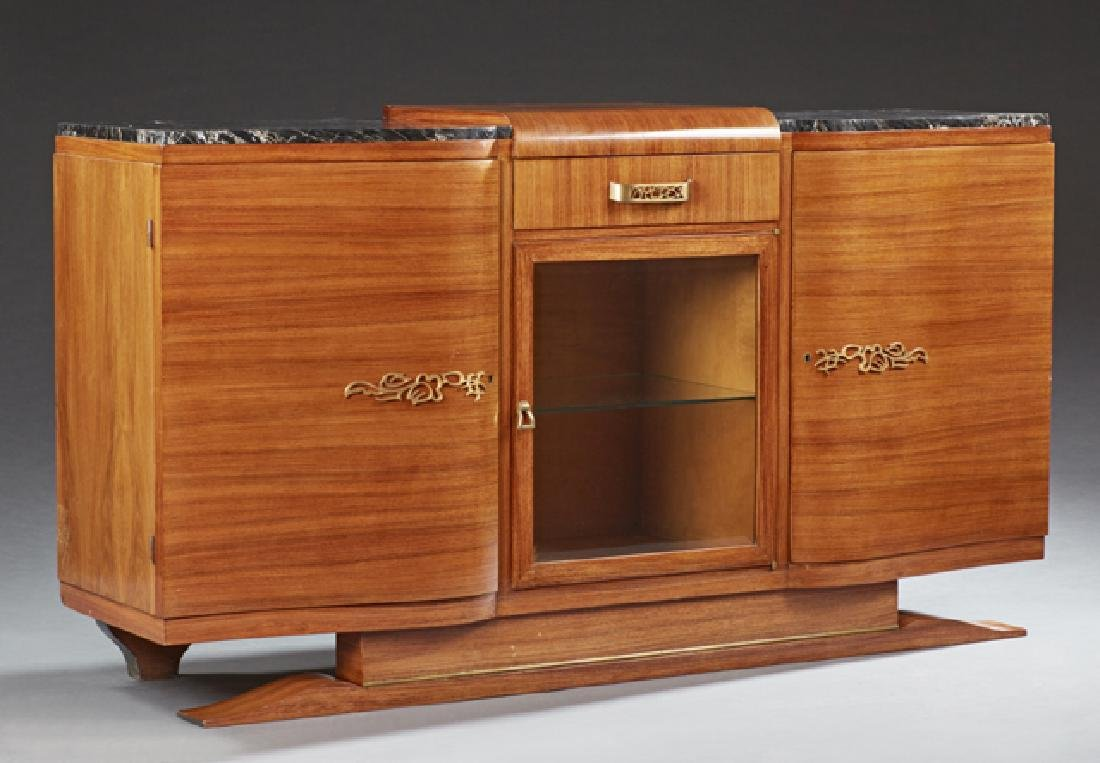French Art Deco Carved Mahogany Marble Top Sideboard,