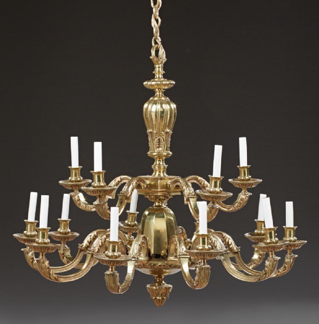 Louis XV Style Fifteen Light Bronze Chandelier, 20th