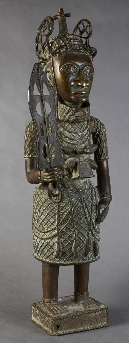 Large African Benin Bronze Figure, 20th c., of a