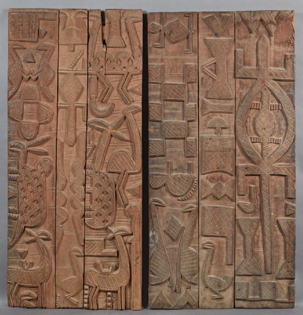 Two African Carved Yoruba Wood Doors, early 20th c.,