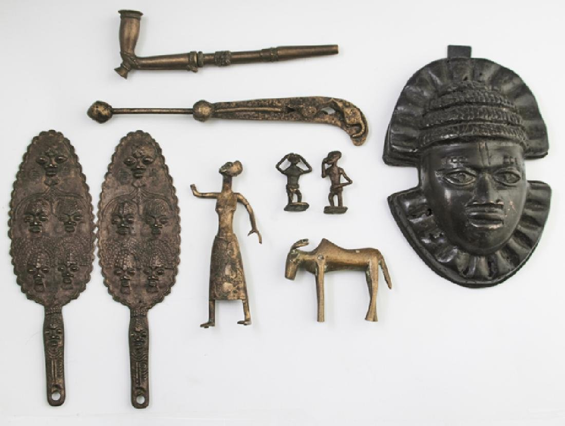 Group of Nine African Benin Bronzes, 20th c.,