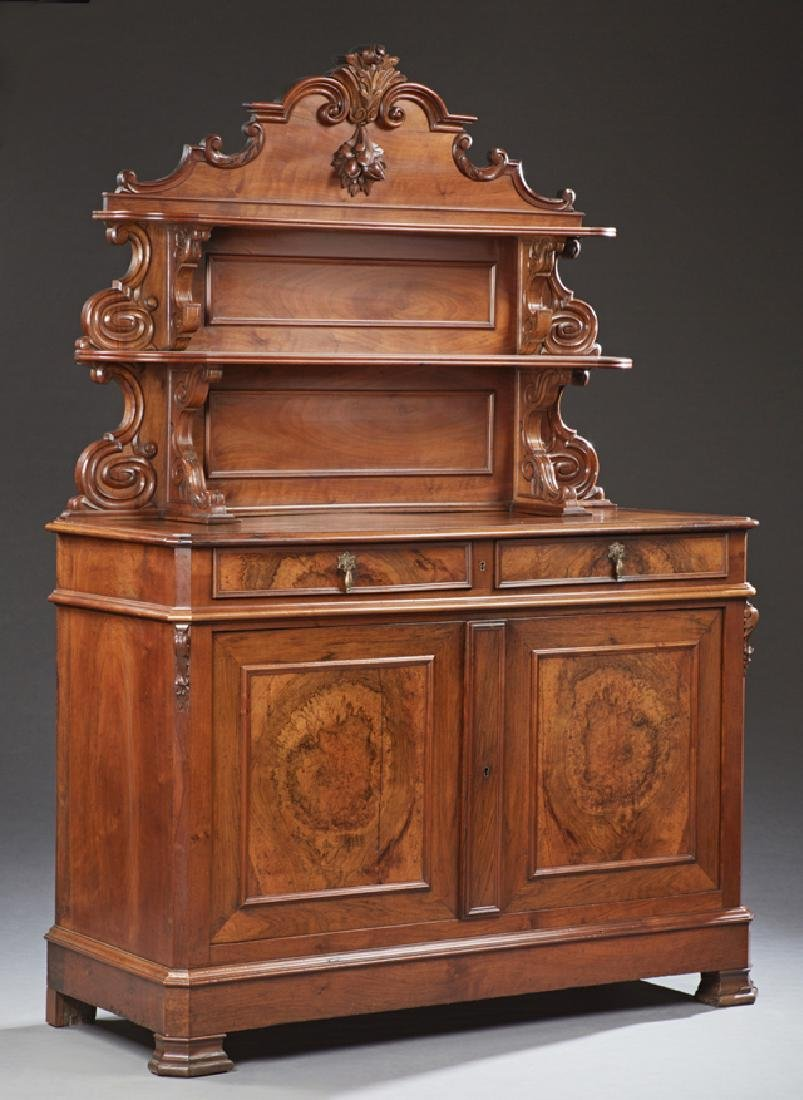 French Louis Philippe Carved Walnut Sideboard, c. 1850,