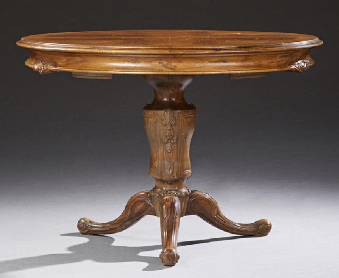 French Louis Philippe Carved Walnut Dining Table, 19th
