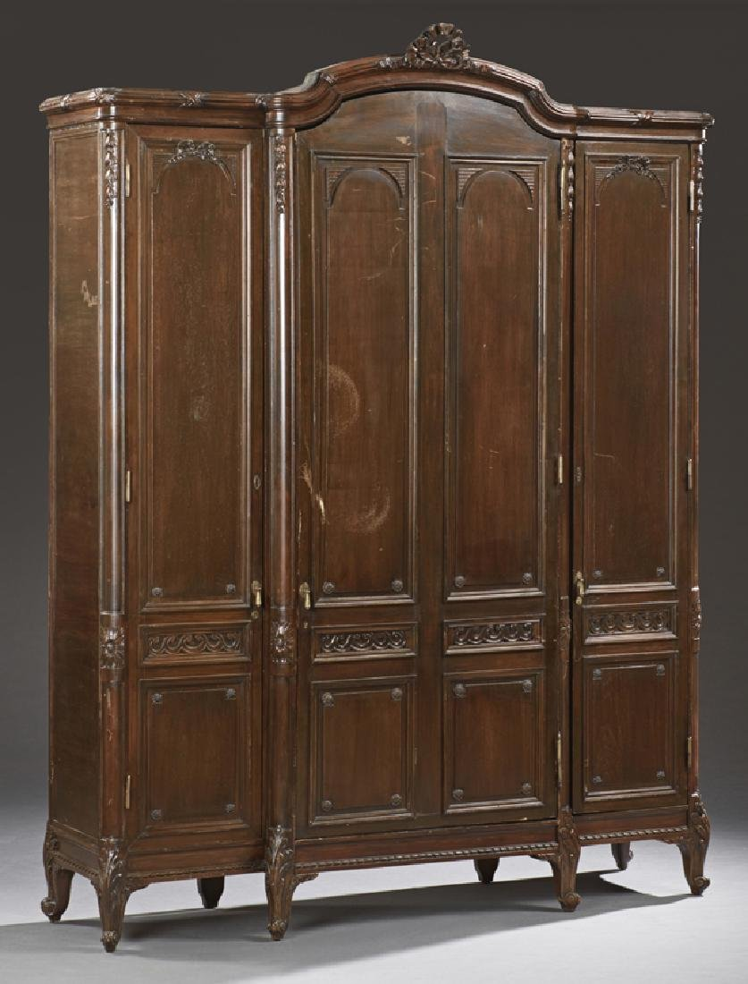 Large French Louis XV Style Carved Walnut Armoire, 19th