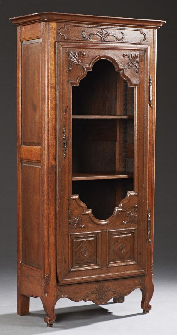 French Louis XV Style Carved Oak Bookcase, early 20th
