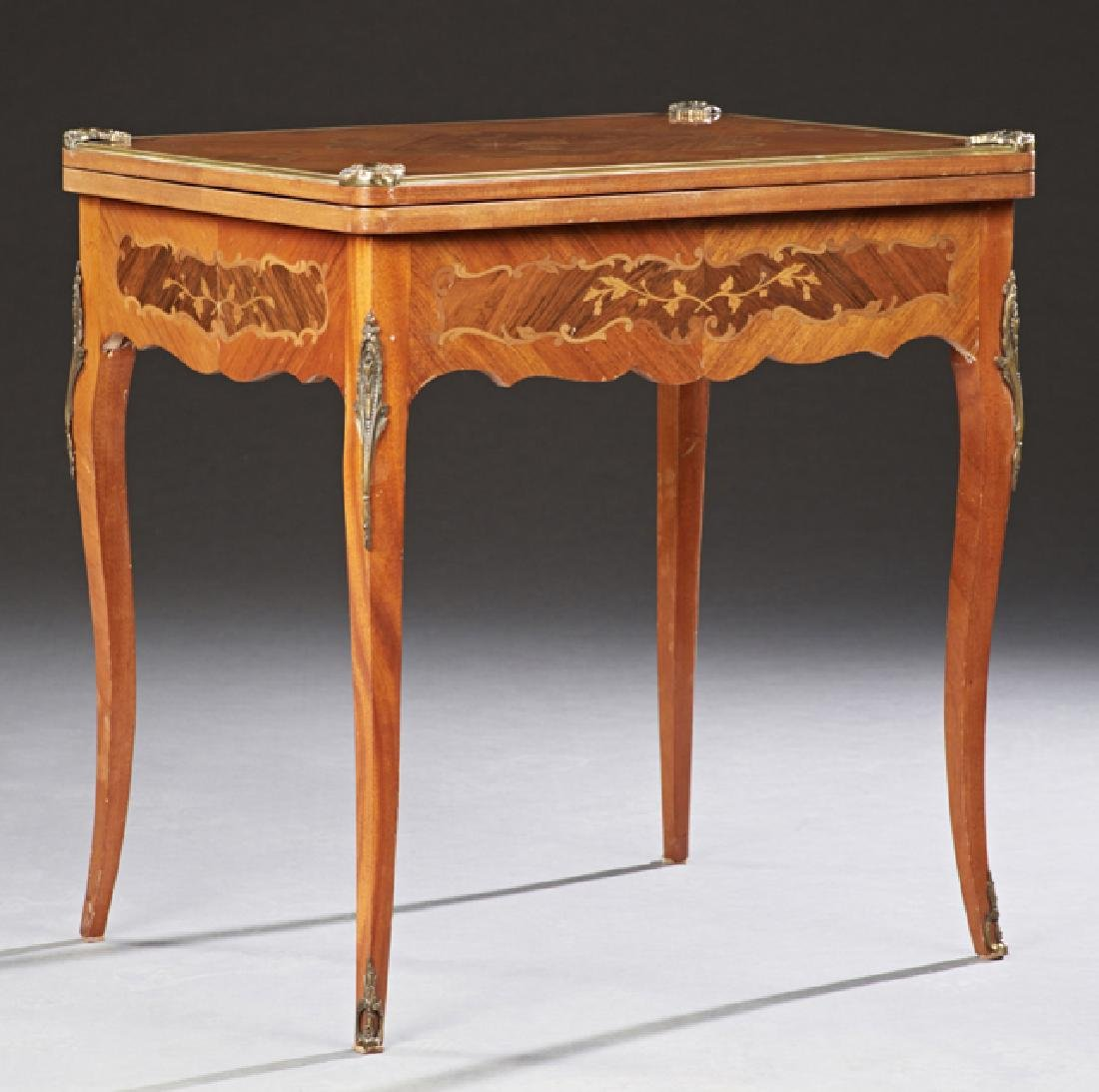 French Marquetry Inlaid Mahogany Louis XV Style Games