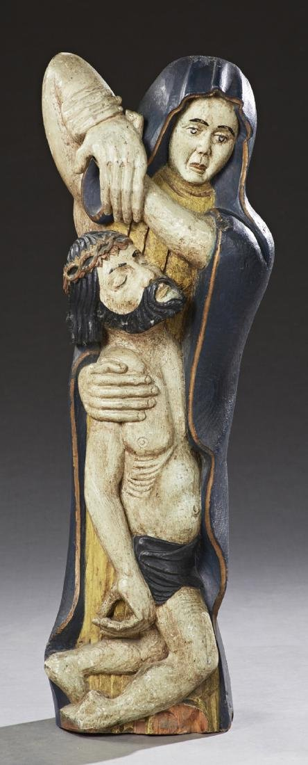 Polychromed Carved Wood Religious Figure, early 20th