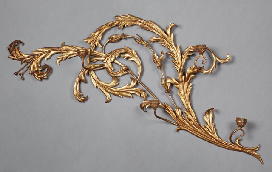 Florentine Style Gilt Iron Four Light Candle Sconce,