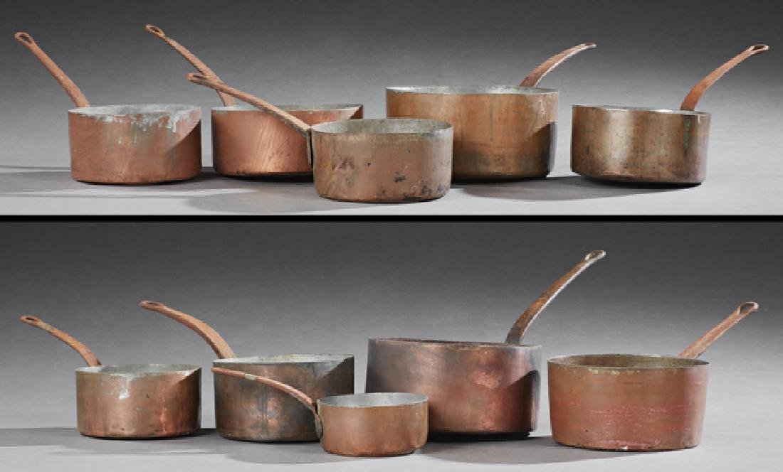 Group of Ten French Graduated Copper Sauce Pans, early