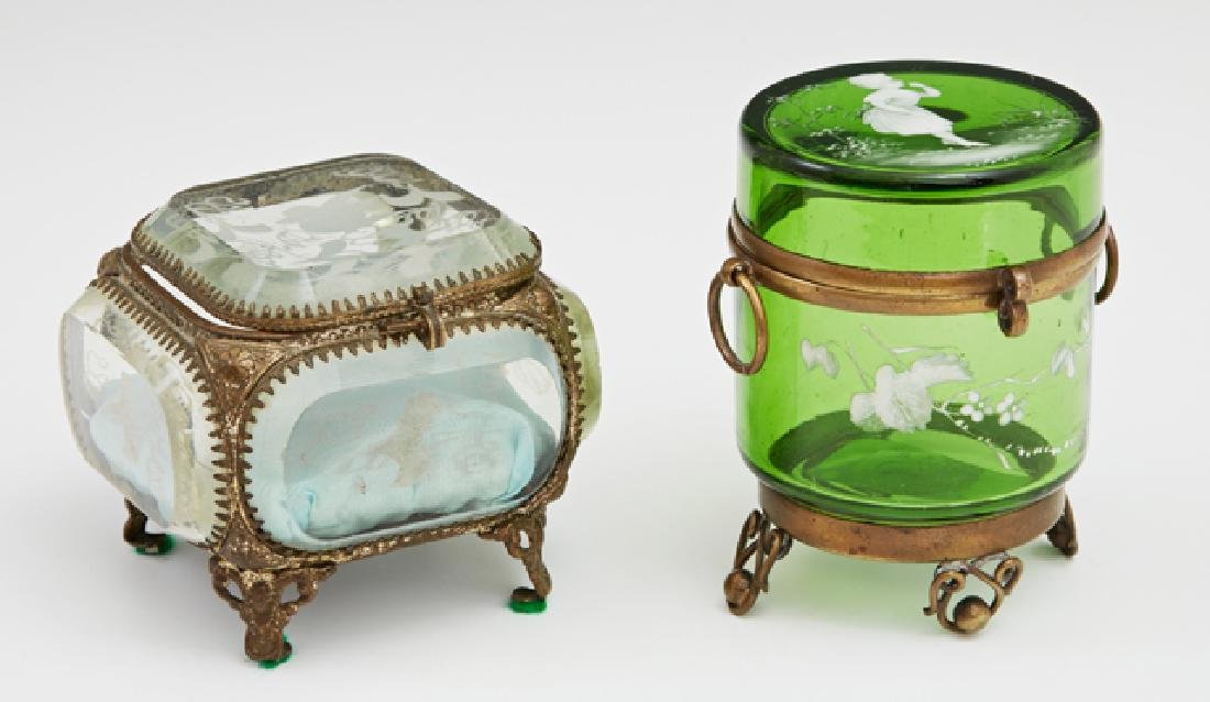 Two Glass Ring Boxes, 19th c., a green Mary Gregory