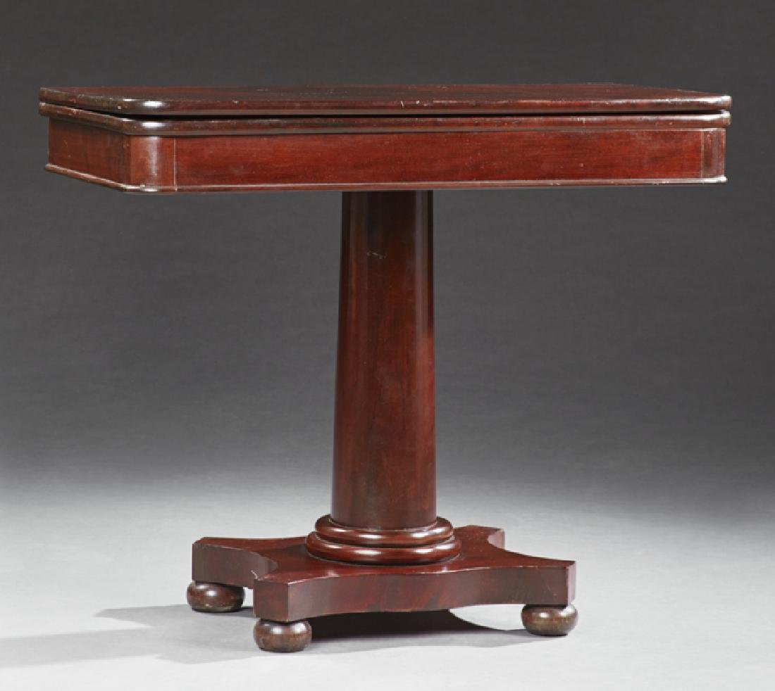 American Classical Carved Mahogany Games Table, 19th