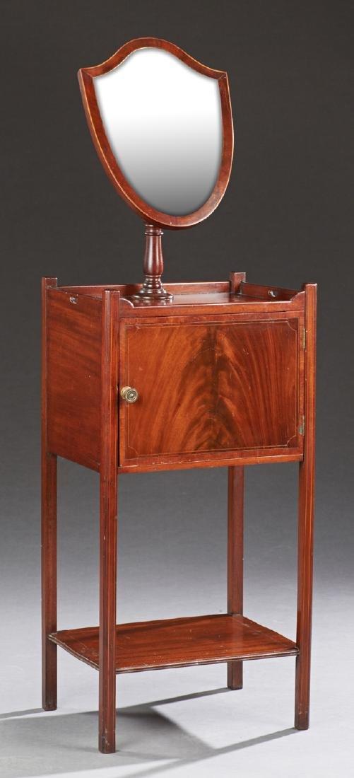 Edwardian Inlaid Mahogany Shaving Mirror, c. 1910, the