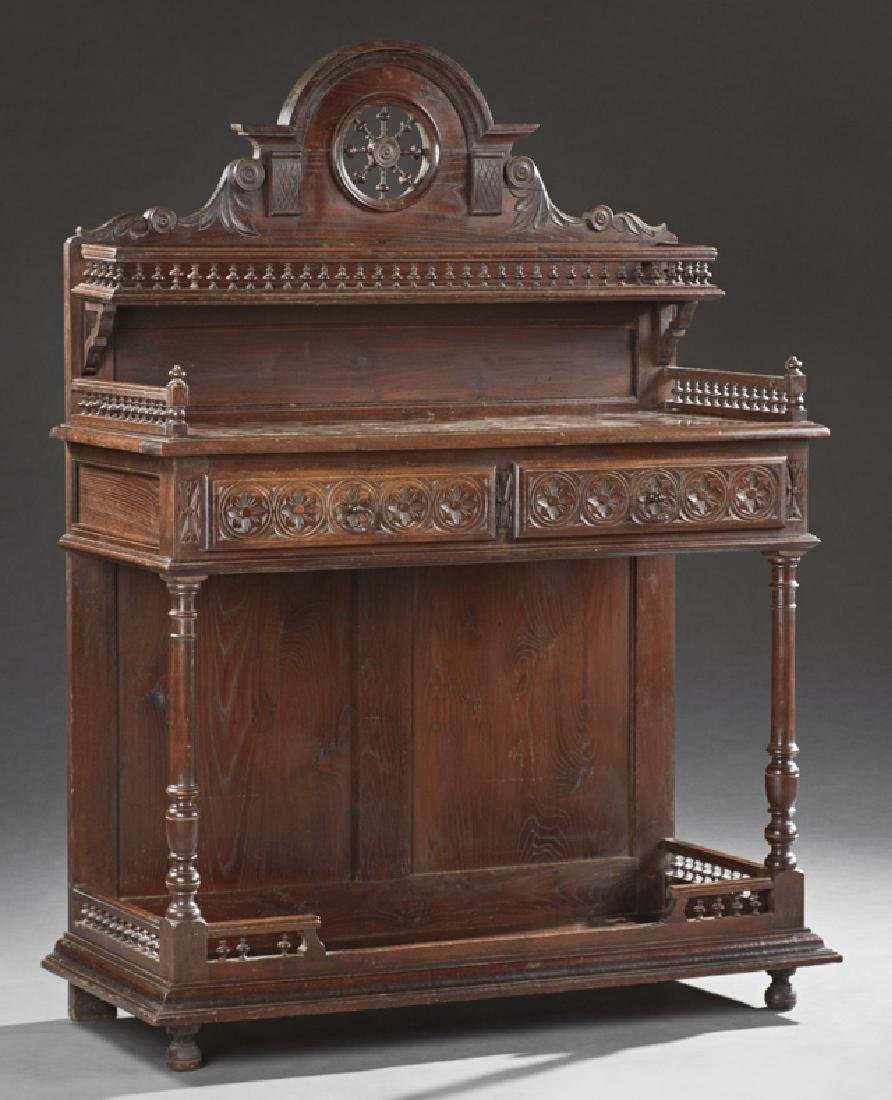 French Carved Oak Henri II Style Marble Top Server,