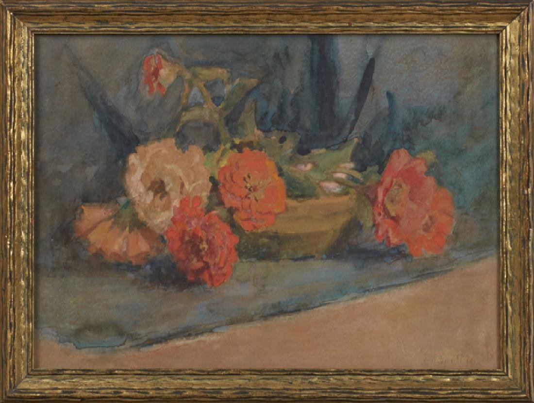 "Lulu M. Snell, ""Tabletop Still Life with Geraniums,"""