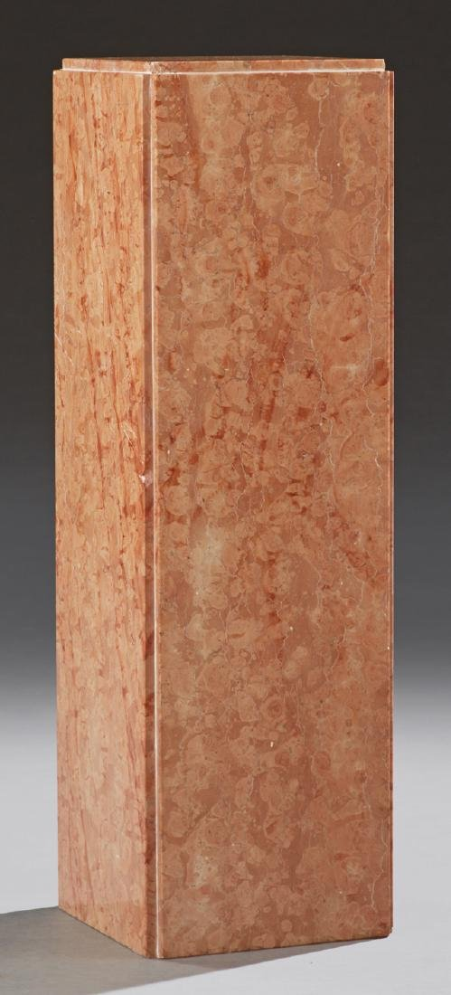 Contemporary Highly Figured Pink Marble Pedestal, 20th