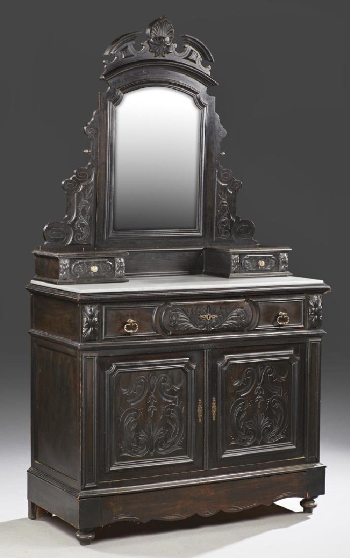 French Ebonized Marble Top Secretaire Dresser, c. 1880,