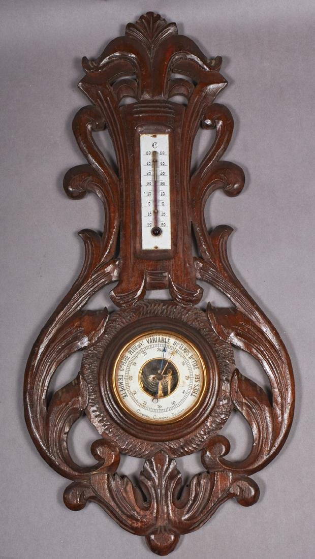 French Carved Mahogany Barometer, c. 1890, by Castel