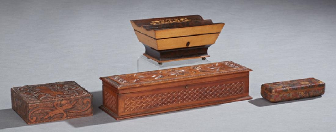 Group of Four Boxes, 19th c., consisting of a gilt