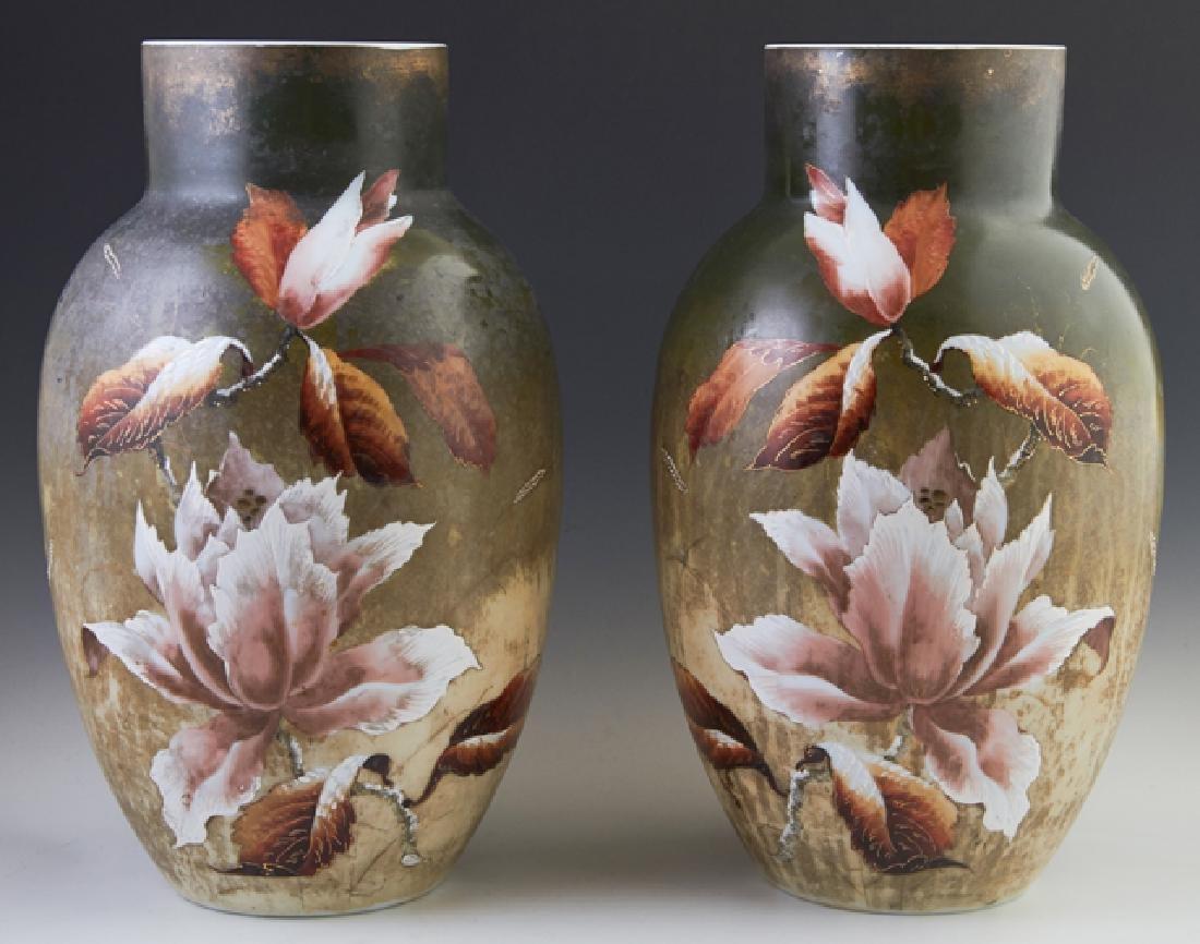 Pair of English Milk Glass Baluster Vases, c. 1880,