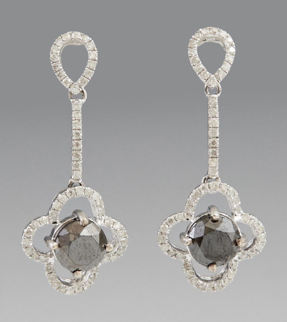 Pair of 14K White Gold Pendant Earrings, each with a