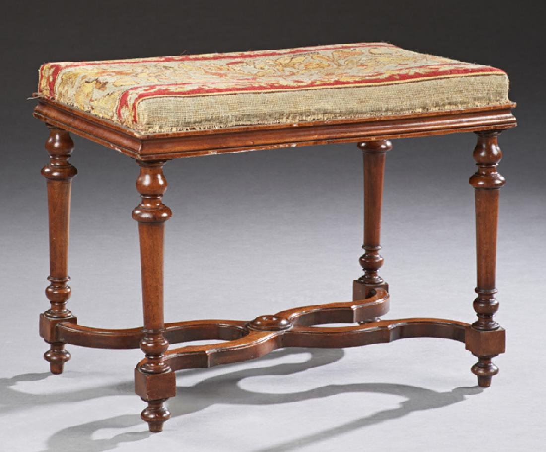 English Carved Mahogany Wood Bench, 19th c., the floral