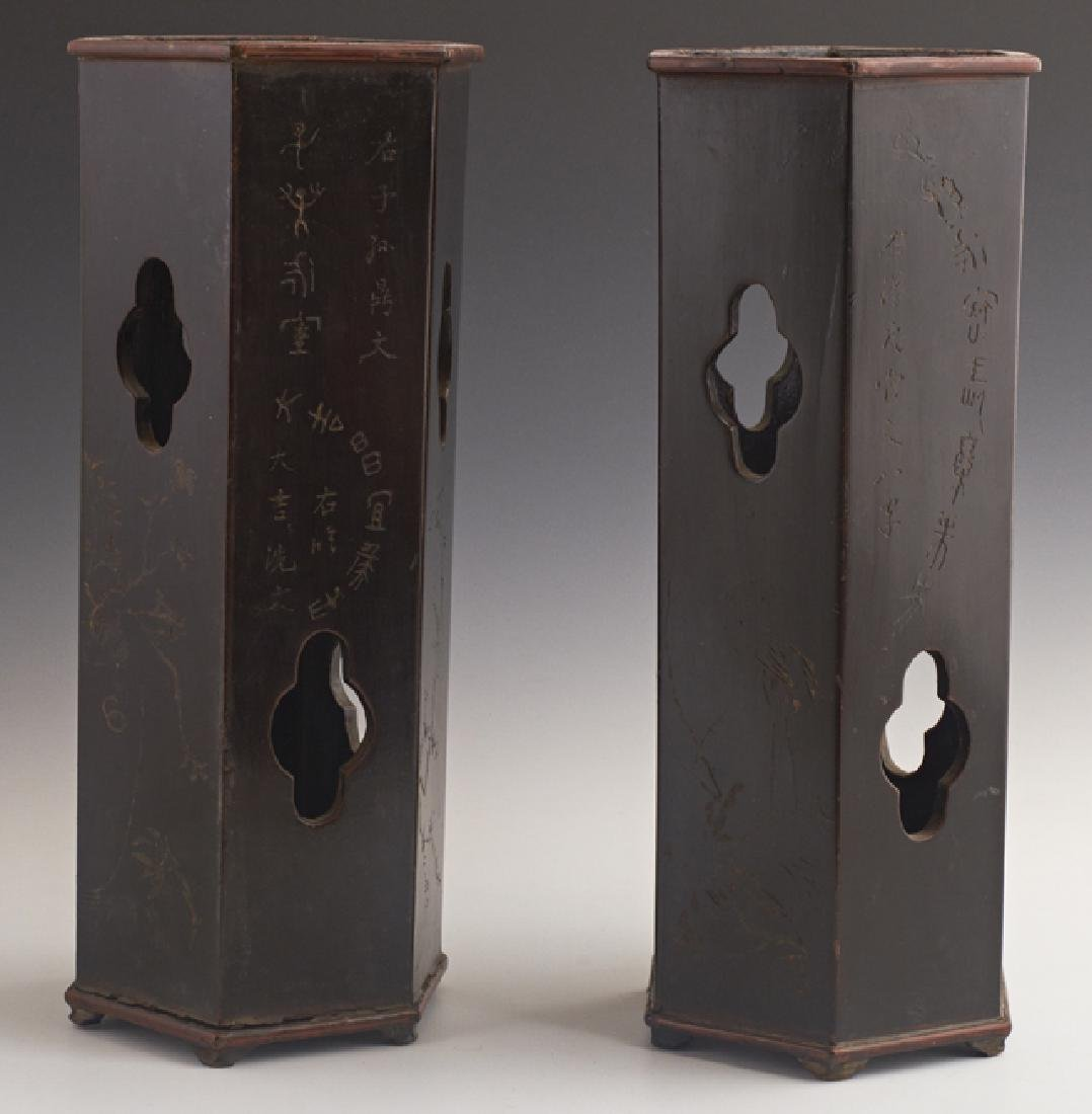 Pair of Chinese Lacquered Bamboo Hat Stands, 19th c.,