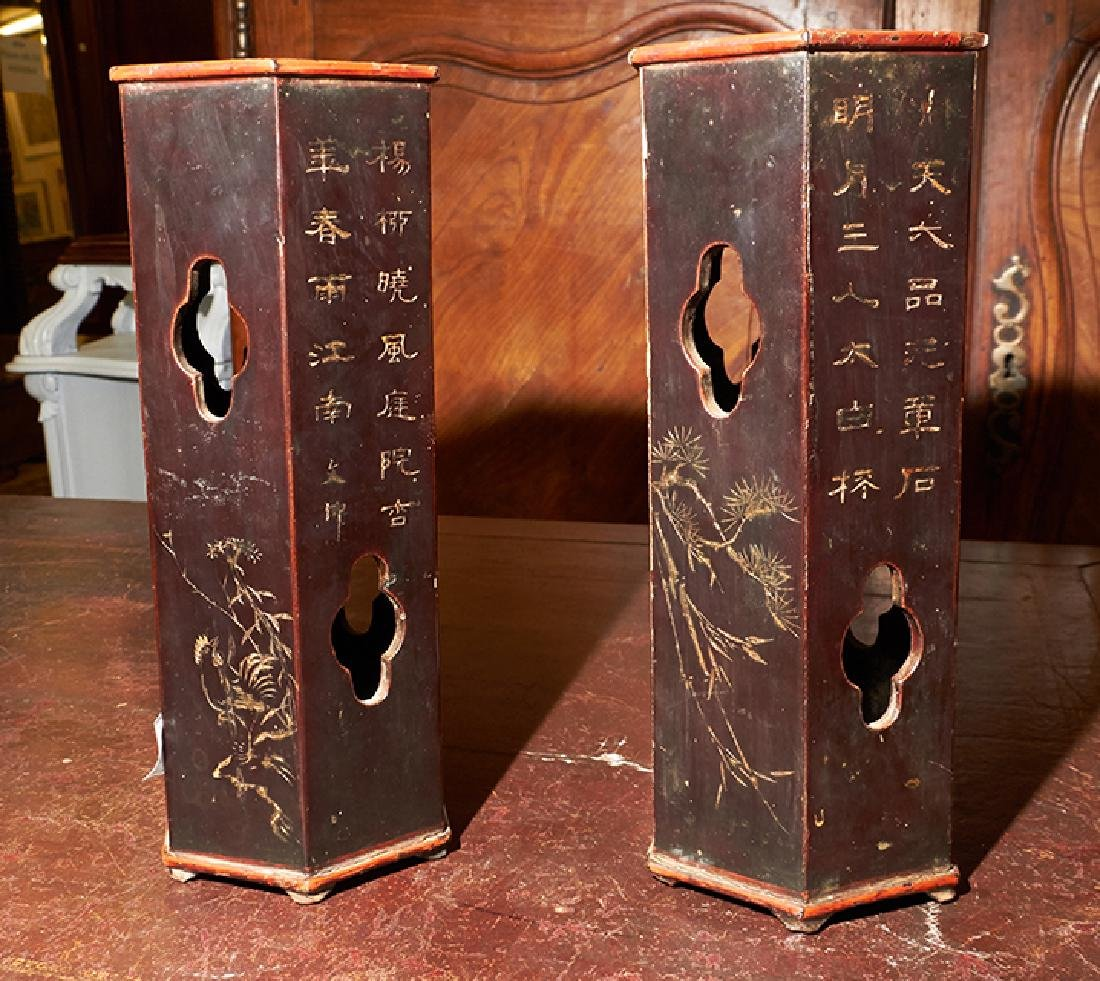 Pair of Chinese Lacquered Bamboo Hat Stands, 19th c., - 2
