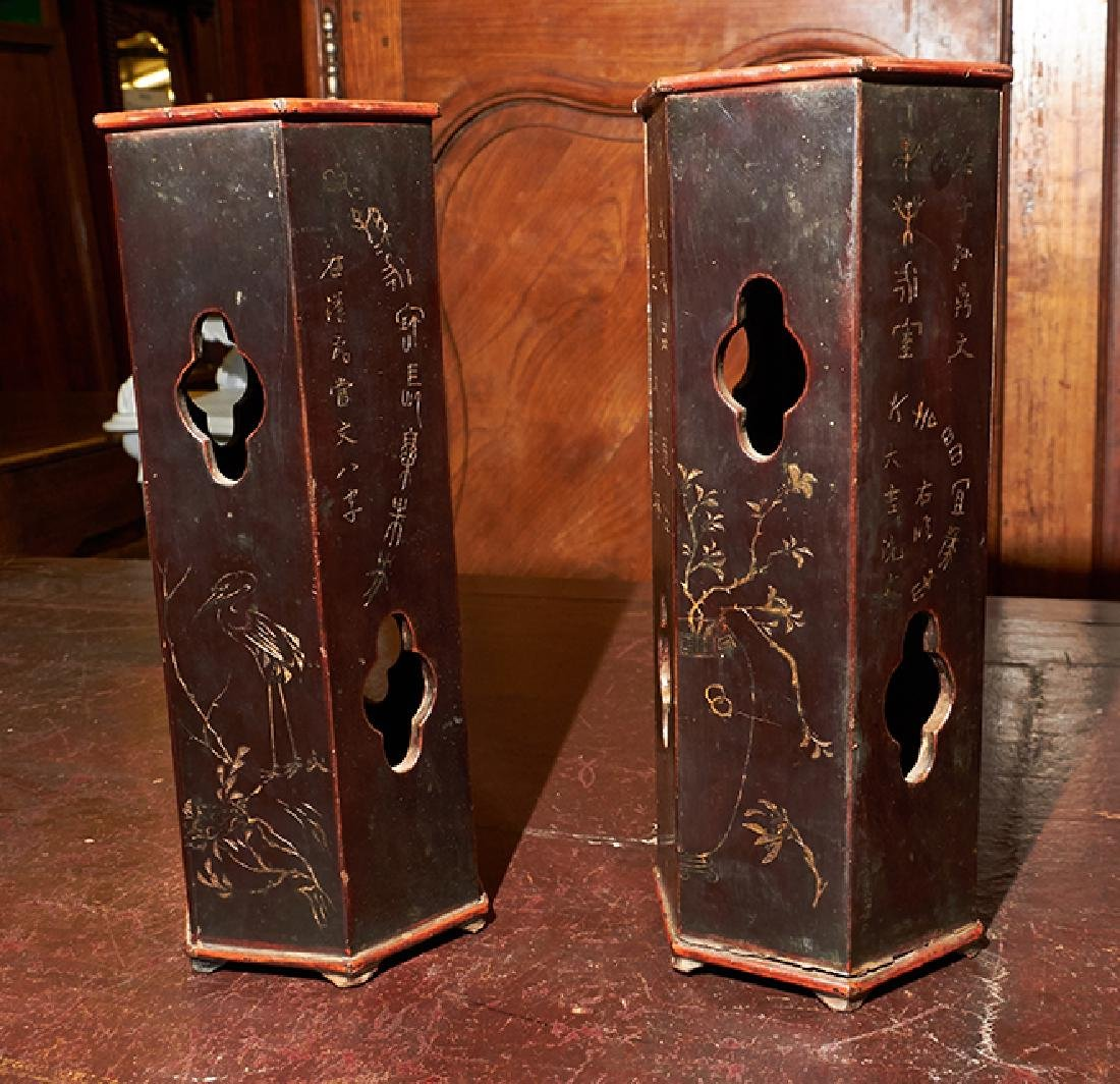 Pair of Chinese Lacquered Bamboo Hat Stands, 19th c., - 3