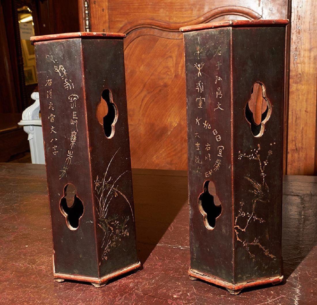 Pair of Chinese Lacquered Bamboo Hat Stands, 19th c., - 4