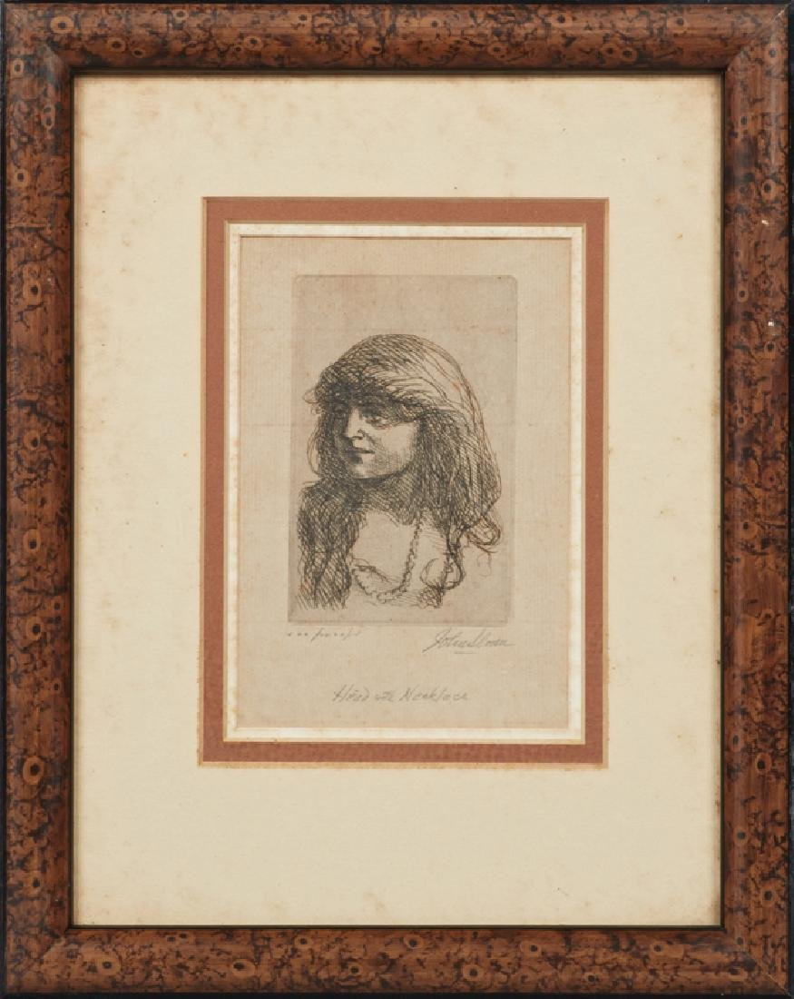 """John Sloan (1871-1951), """"Head with Necklace,"""" etching,"""