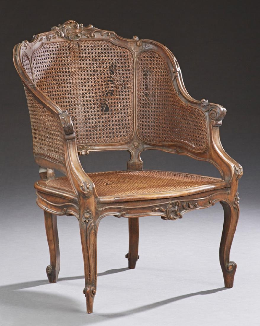 French Louis XV Style Cane Seat Bergere, 19th c., the