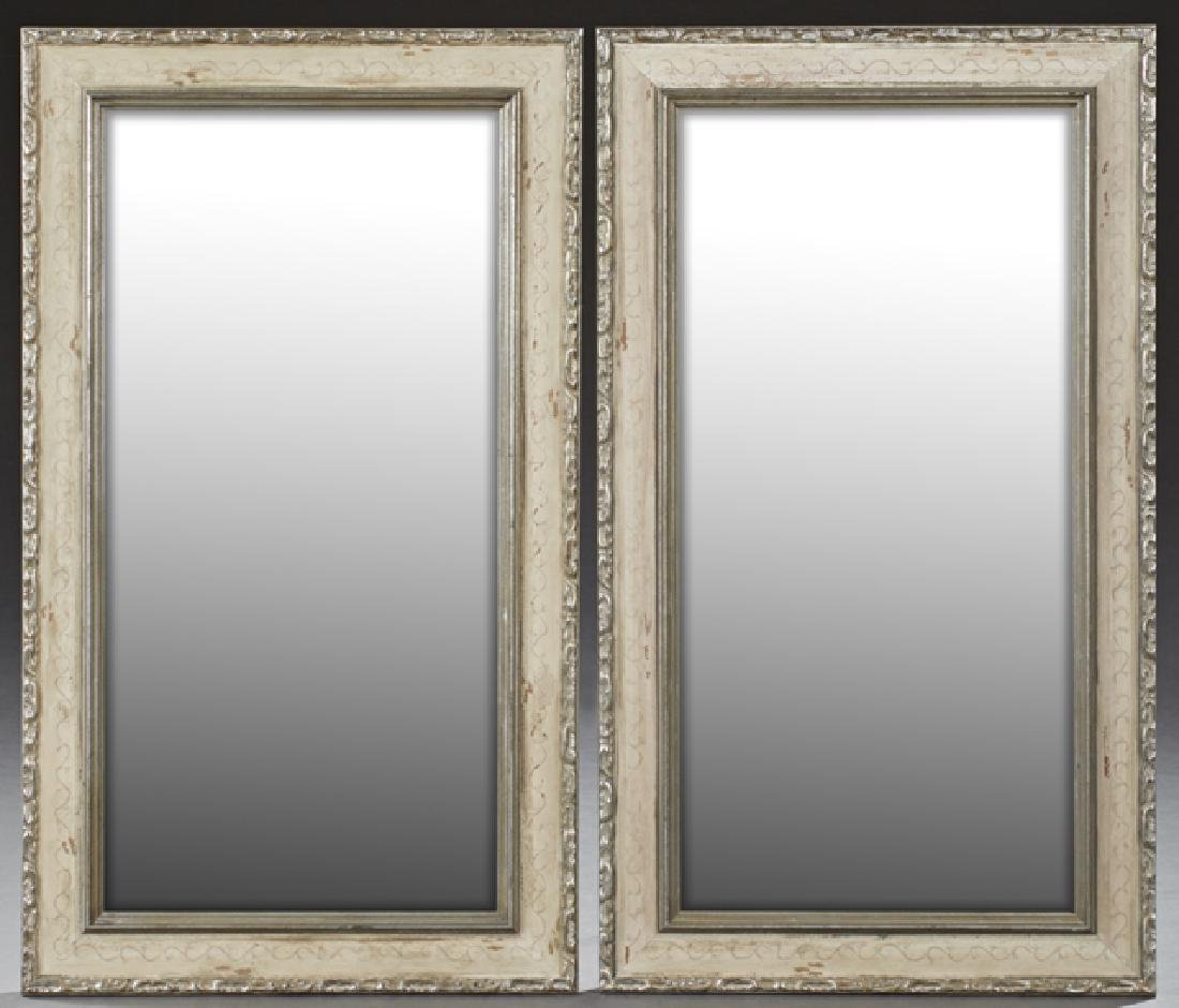 Pair of American Rectangular Mirrors, in silver gilt