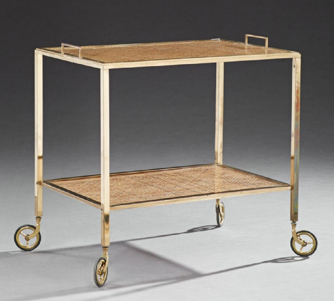 Modern Brass Dessert Cart, 20th c., the rectangular top