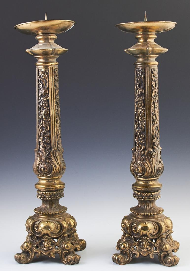 Pair of Brass Plated Spelter Altar Style Pricket