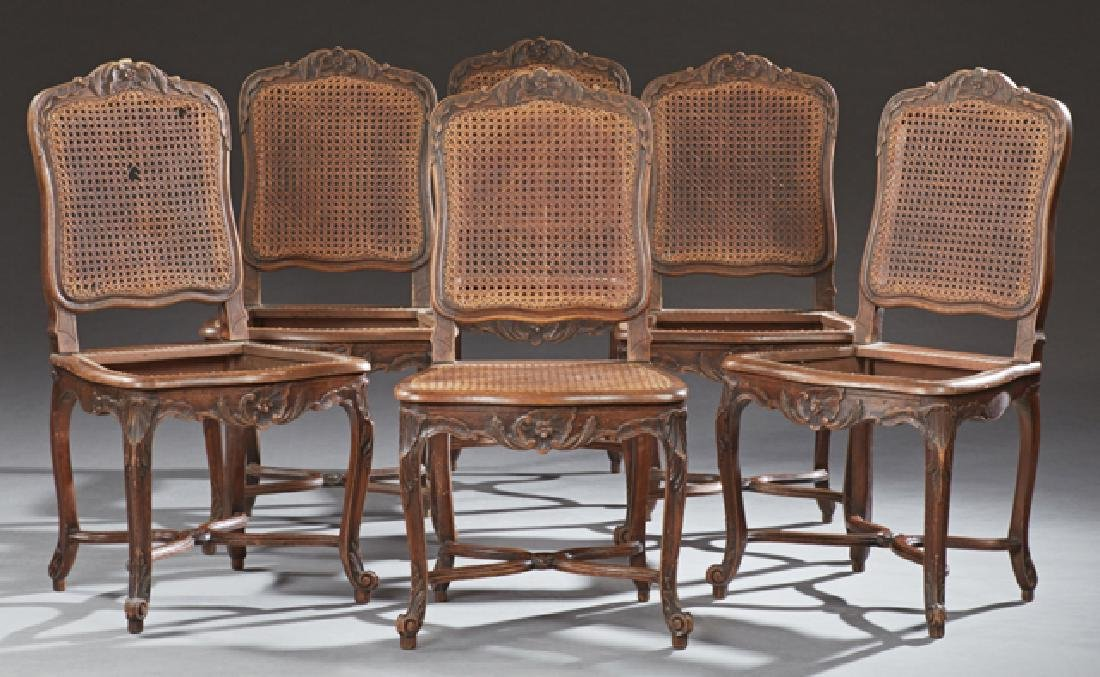 Set of Six French Louis XV Style Carved Beech Dining