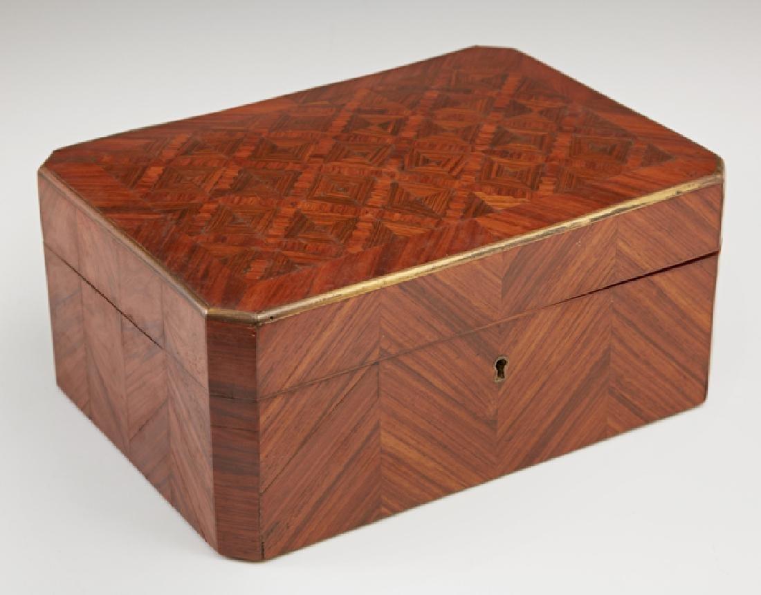 French Brass Bound Inlaid Burled Walnut Dresser Box,