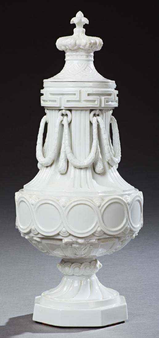 Large French Ceramic Covered Urn, c. 1870, of baluster