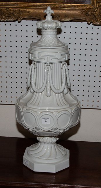 Large French Ceramic Covered Urn, c. 1870, of baluster - 3