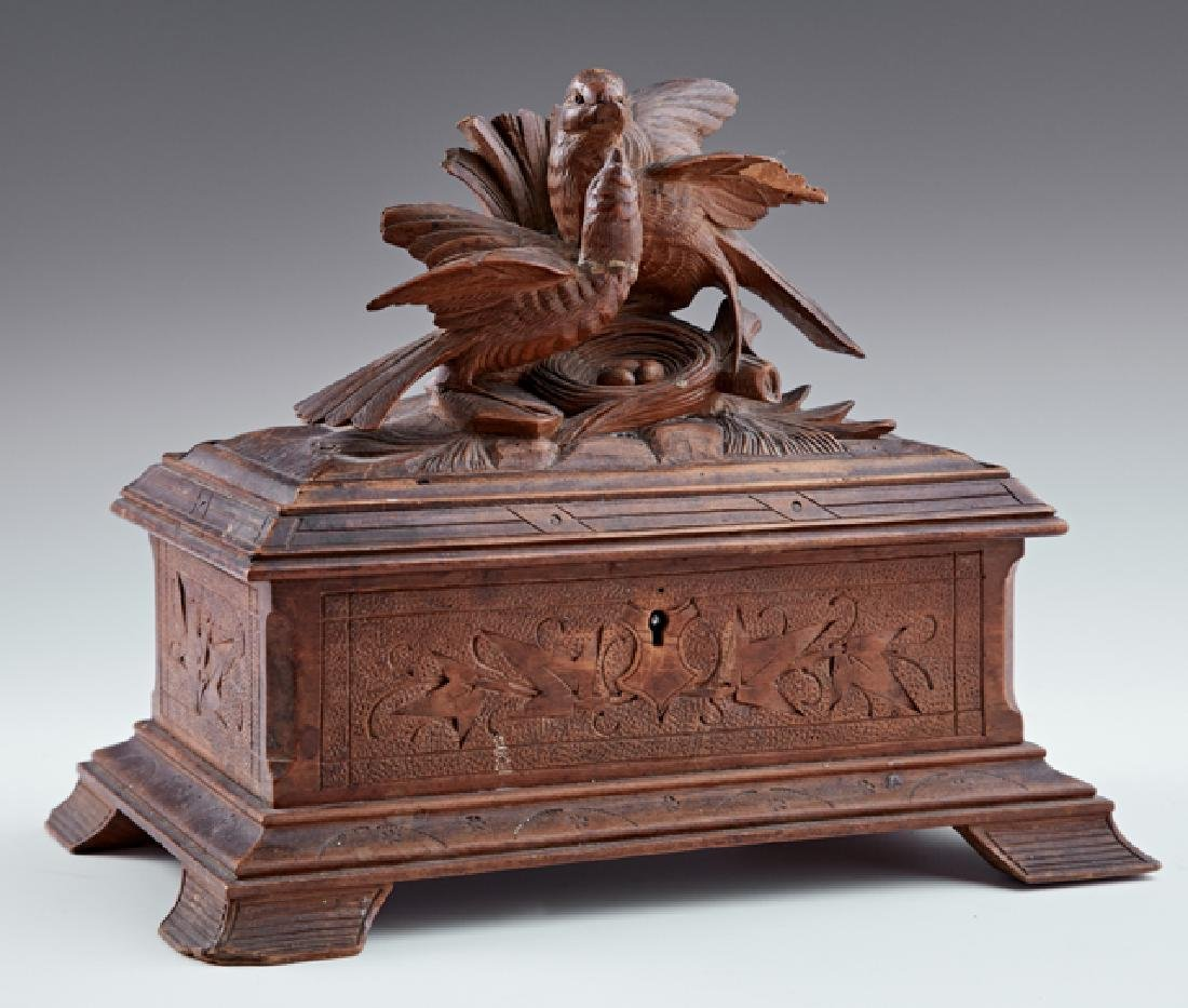 Continental Carved Walnut Dresser Box, c. 1880, the