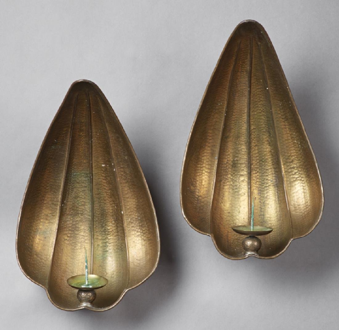 Pair of Large Italian Gilt Brass Shell Form Candle